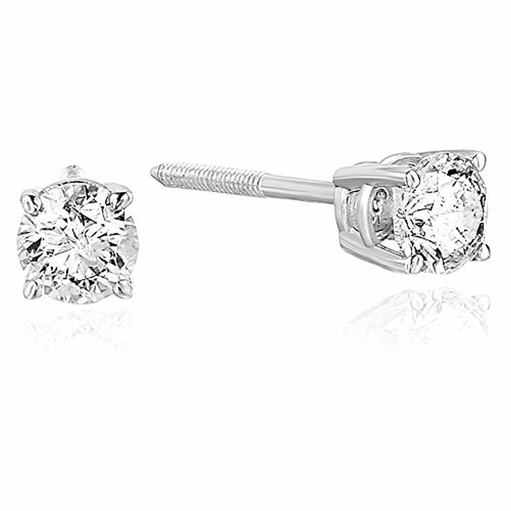Vir Jewels 1/2 cttw Diamond Stud Earrings 14K White Gold Round Shape with Screw Backs
