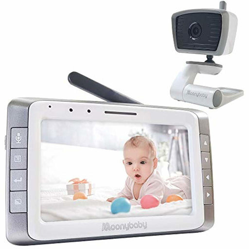 Video Baby Monitor with Camera and Audio, 5 inches Large Screen, Long Battery Life, Long Range, Non-WiFi, Auto Night Vision, Talk Back, Auto Scan, Lullabies, Power Saving, Voice Activation, 2x Zoom in