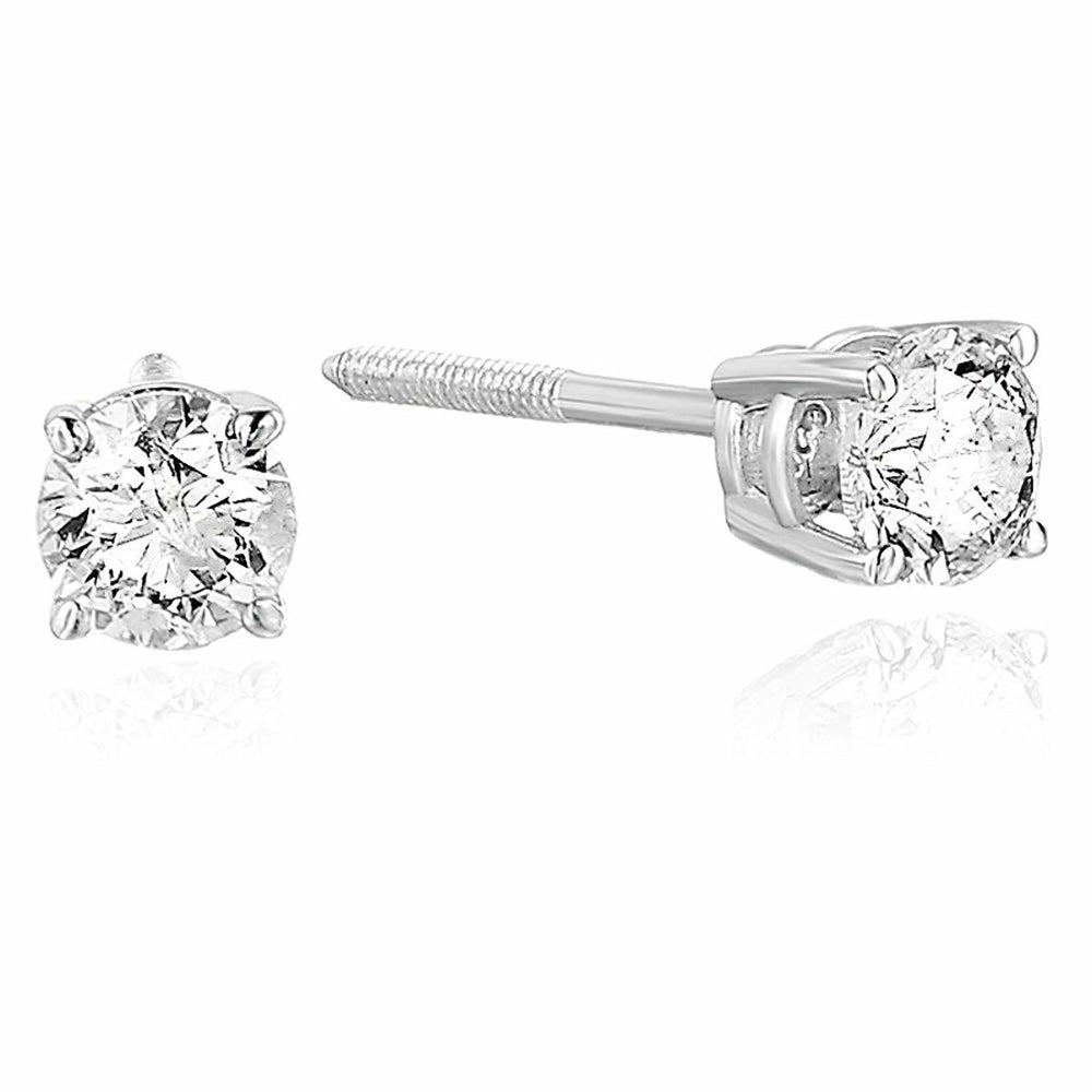 Certified 1/3 cttw Diamond Stud Earrings 14K Gold I1-I2 Clarity Round