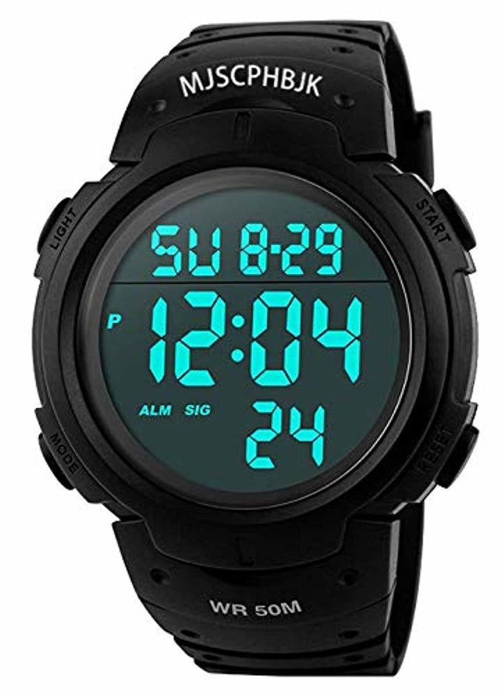 MJSCPHBJK Mens Digital Sports Watch, Waterproof LED Screen Large Face Military Watches and Heavy Duty Electronic Simple Army Watch with Alarm, Stopwatch, Luminous Night Light - Black