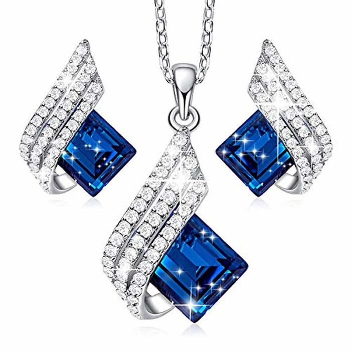 CDE S925 Sterling Silver Jewelry Set Embellished with Crystals from Swarovski Pendant with CZ Diamonds Necklace and Earrings Set Jewelry Gift for Women