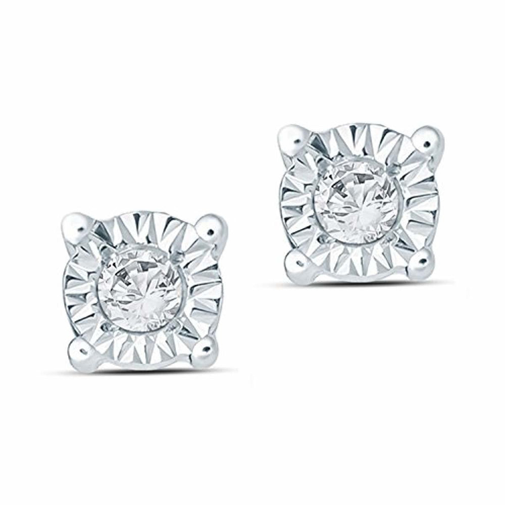Tesoro Mio Sterling Silver 1/10 Carat Round Cut (I-J Color, I2-I3 Clarity) Natural Diamond Earrings for Women