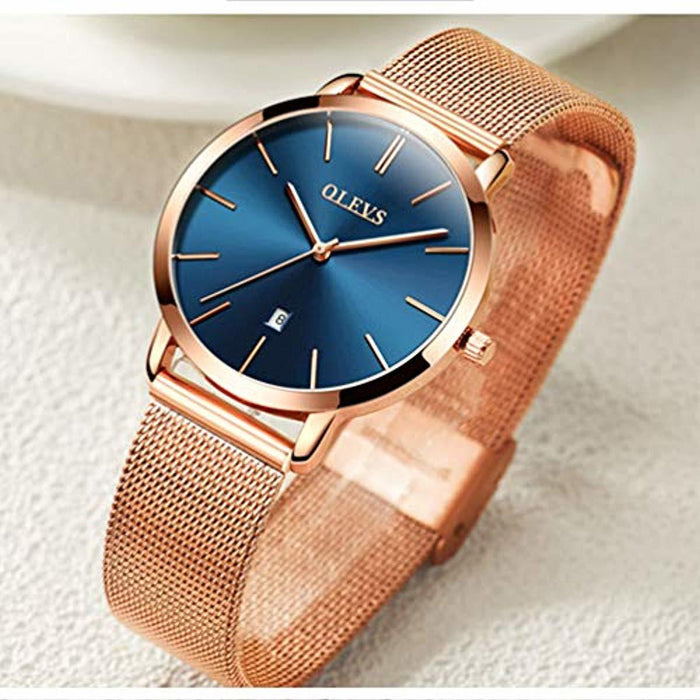 OLEVS Women Ultra Thin 6.5mm Quartz Rose Gold/Black Mesh Steel Wrist Watch with Free Adjust Screwdriver, Waterproof & Date Window