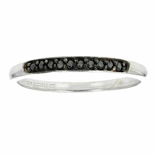 1/10 cttw Prong Set Black Diamond Ring in .925 Sterling Silver (Sizes 5 to 10)
