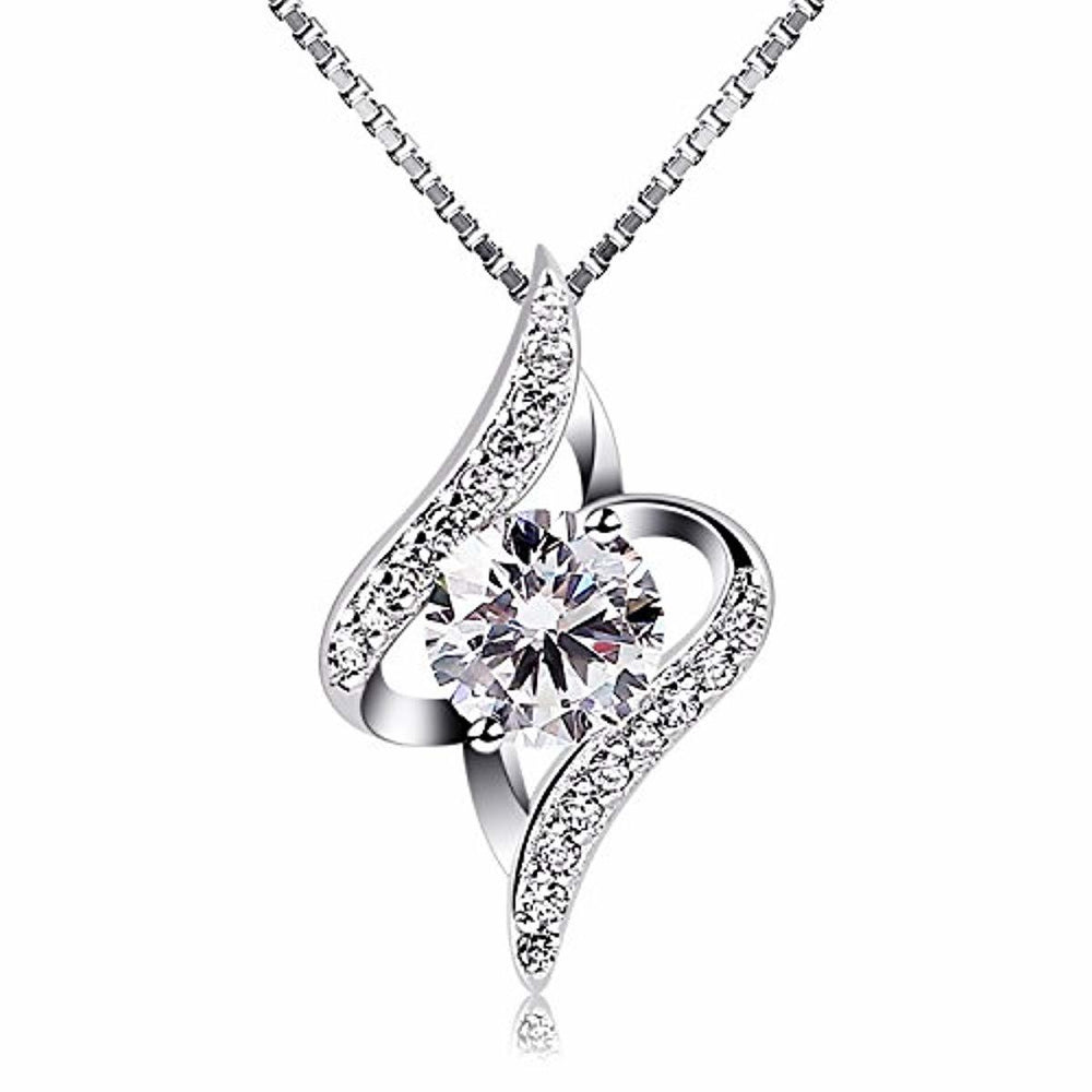 B.Catcher Necklaces Silver Womens Jewelry Pendant Cubic Zirconia Box Chain Necklace