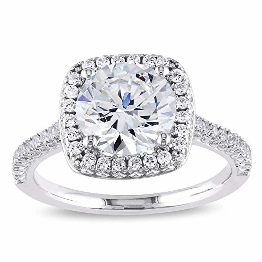 PORI JEWELERS .925 Sterling Silver Cushion Cut Halo Solitaire Engagement Ring- 2.45 Cttw Cubic Zirconia