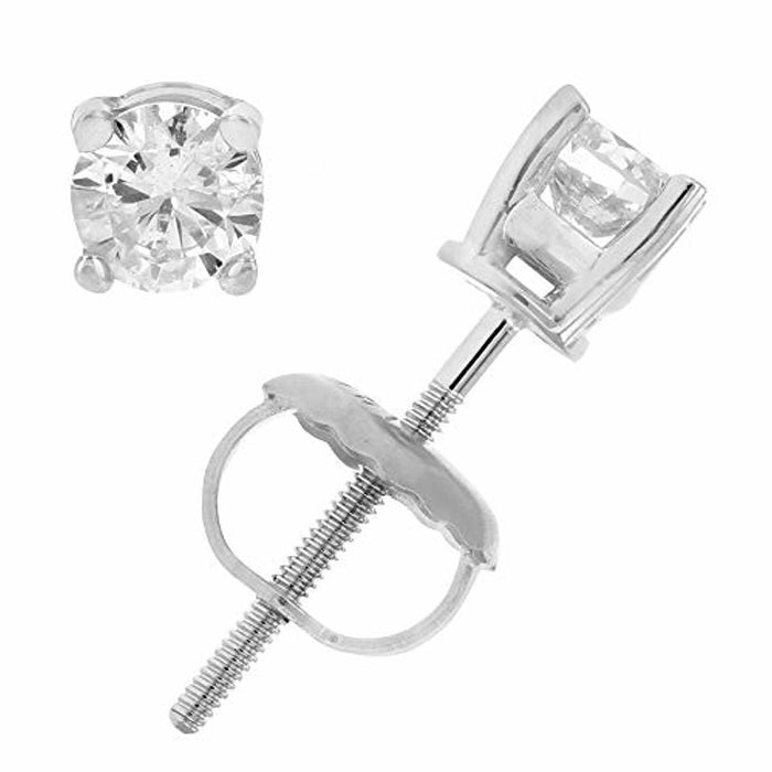 Certified 14K 1/3 to 2 cttw Diamond Stud Earrings White Gold with Screw Backs