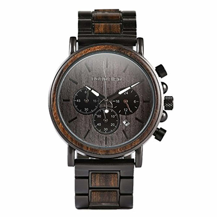 Mens Wooden Watches Luxury Stainless Steel Wood Watch for Men Chronograph Quartz Watches