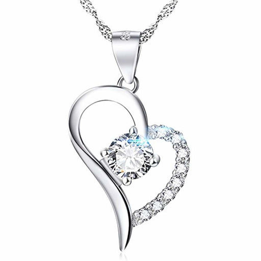 YFN 925 Sterling Silver Infinity Love Heart Necklace Platinum Plated Round CZ Fine Woman's Jewelry 18""