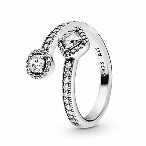 Pandora Jewelry - Sparkling Square and Circle Open Ring for Women in Sterling Silver with Clear Cubic Zirconia