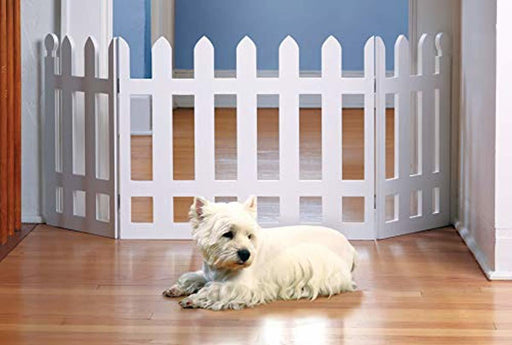 Zoogamo 3 Panel Wood Picket Fence Design Pet Gate - 19 Inches Tall and Expands Up to 48'' Wide Durable Lightweight Extra Wide Wooden Expandable & Folding Home/Indoor/Outdoor Dog Fence
