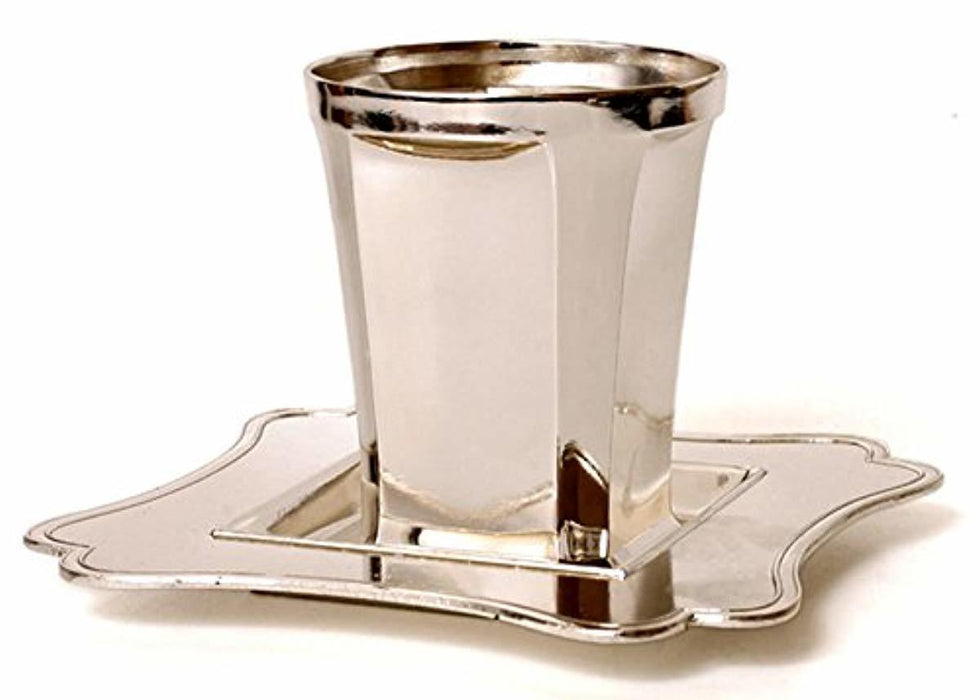Modern Silver Plated Kiddush Cup and Plate