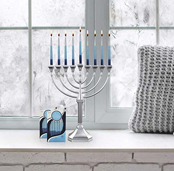 Zion Judaica Hanukkah Menorah Satin Silver Traditional Full Size Non Tarnish - Classic Graceful Style Precision Die Cast