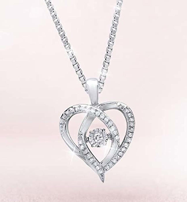 Sterling Silver Dancing Diamond Heart Pendant Necklace (1/6 cttw, I-J Color, I1-I2 Clarity), 18""