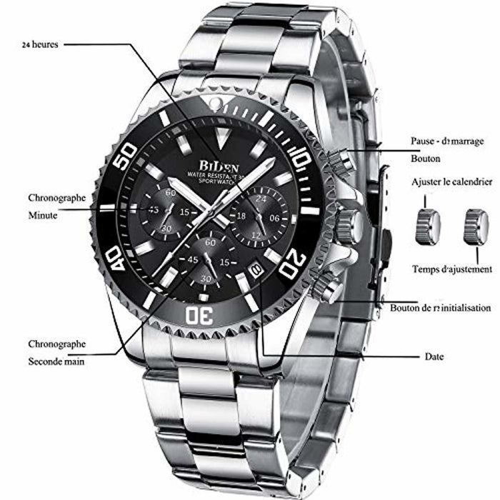 Mens Watches Chronograph Stainless Steel Waterproof Date Analog Quartz Fashion Business Wrist Watches for Men