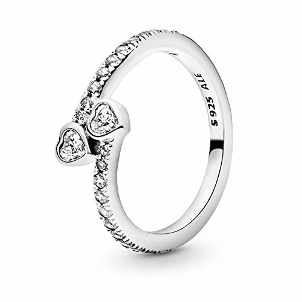 Pandora Jewelry - Two Sparkling Hearts Ring for Women in Sterling Silver with Clear Cubic Zirconia