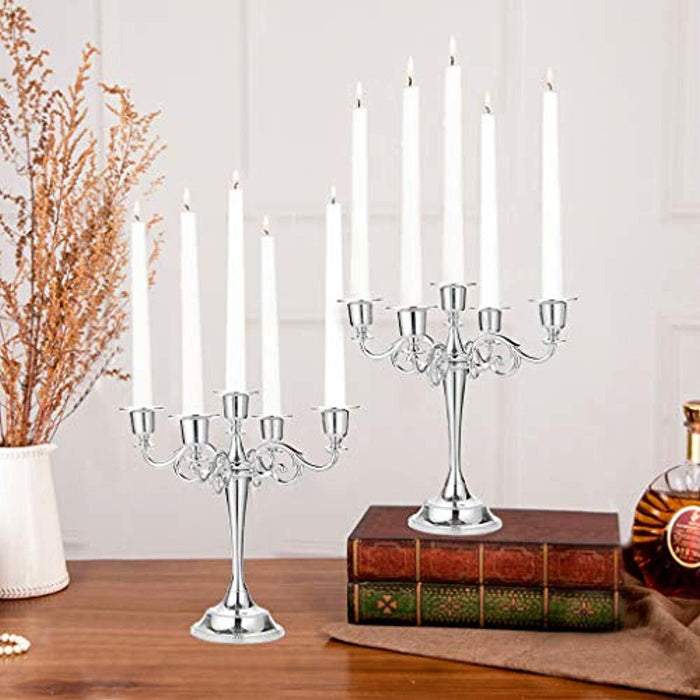 OwnMy 5 Arms Metal Candelabra Candlestick Silver European Elegant Candle Holder Candle Stand for Wedding Dining Table Christmas Party Home Decoration, Silver Tone