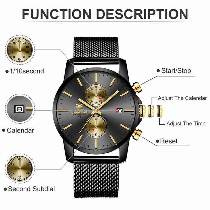 Men's Watches Fashion Sport Quartz Analog Black Mesh Stainless Steel Waterproof Chronograph Wrist Watch, Auto Date in Blue/Red/Gold Hands