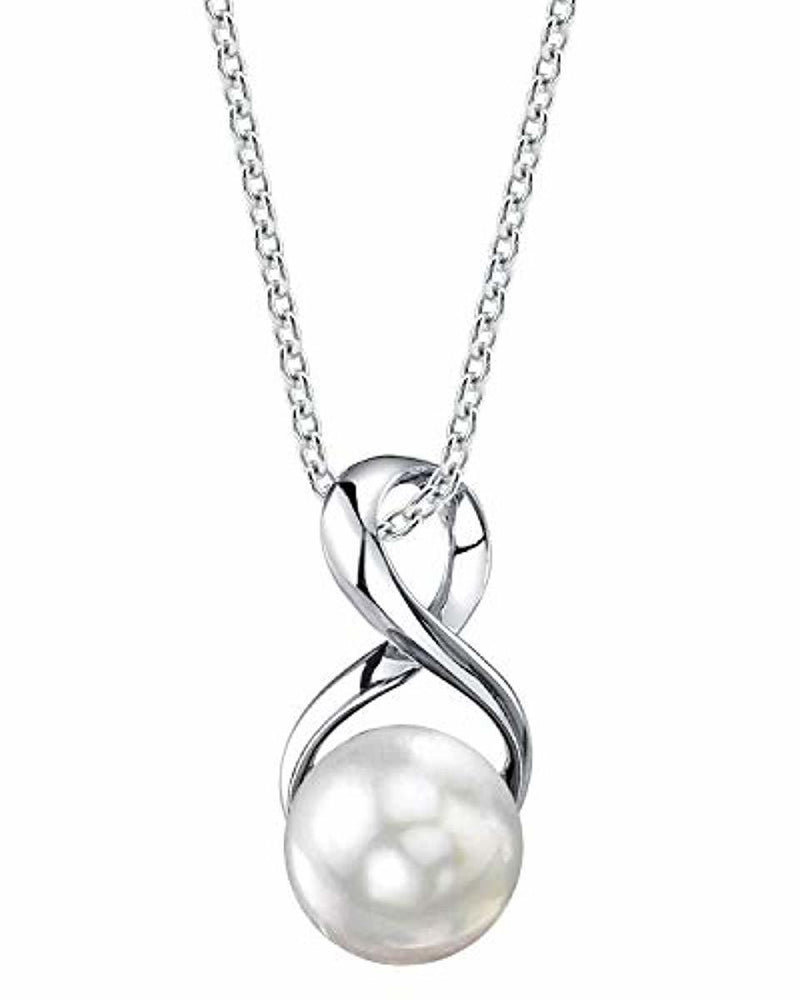 The Pearl Source 9-10mm Genuine Freshwater Cultured Pearl Infinity Pendant Necklace for Women