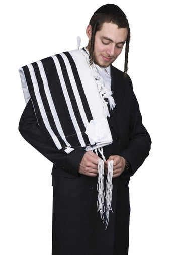 tallis wool hamefoar - ultra-light - shabbos  - With Tzitzis