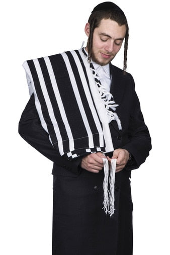 tallis wool kanesher - super light - shabbos - With Tzitzis