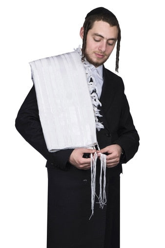 Tallis Wool Hamefoar - White Stripes - With Tzitzis