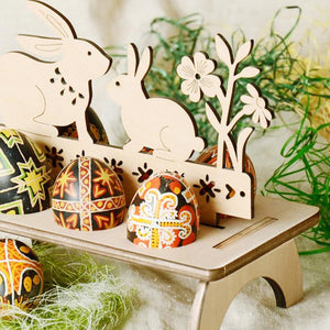 Wooden Easter Egg Rack Stand
