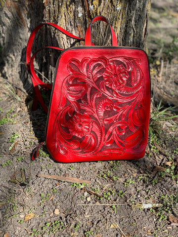 Zipper backpack. Hand tooled leather.