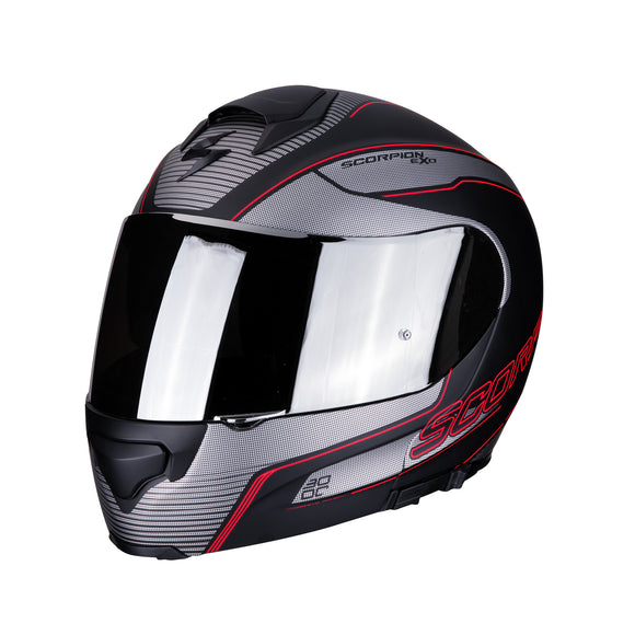 Scorpion Modular Exo-3000 Air Stroll Silver Red Helmet