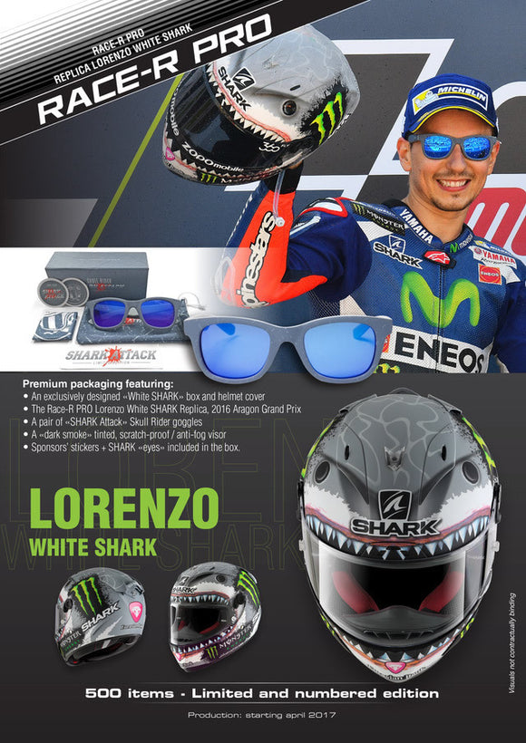 SHARK Race R Pro Replica Lorenzo White Shark Helmet (Limited Edition)