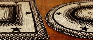 Black & Tan Star Jute Braided Rugs