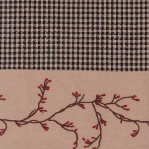 Berry Vine Gingham Gathered Swag - Red or Black