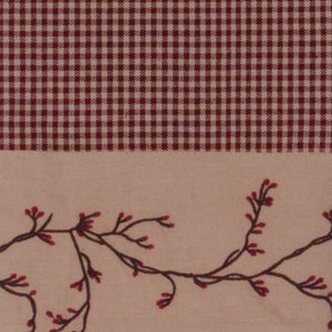 "Berry Vine Gingham Check Fairfield 72"" x 15.5"" Lined Cotton Valance -"