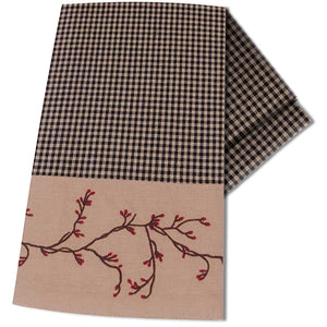Berry Vine Gingham Black and Nutmeg Kitchen Towel by Primitive Home Decors