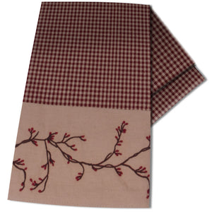 Berry Vine Gingham Barn Red and Nutmeg Kitchen Towel by Primitive Home Decors