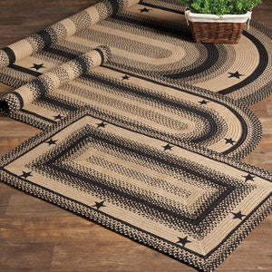 Black and Tan Star Jute Braided Rugs by HomeSpice Decor