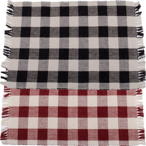 Buffalo Check Placemats - Black, Red or Blue - Set of 6