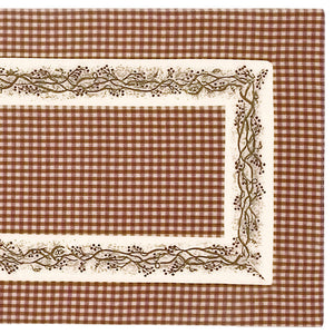 Burgundy Berry Vine Check Country Table Runner