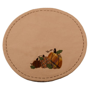 Plaid Orchard Pumpkins Candle Mat Nutmeg-Orange - Set of 2 by Raghu