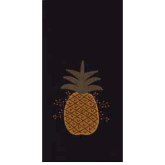 Pineapple Welcome Black Set of 2 Cotton Towels by Raghu (ETAR00J2)