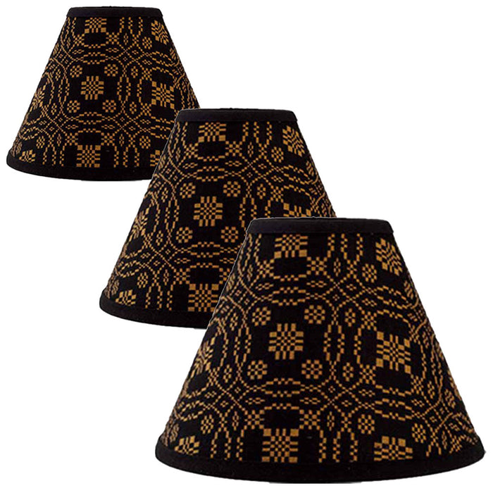 Lover's Knot Jacquard Black and Mustard Lampshades