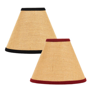 "Burlap Stripe Lampshades - Black or Barn Red - 6"", 10"", 12"", 14"", 16"" - by Raghu"