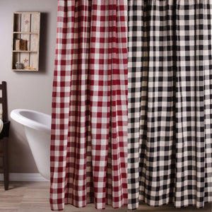 Buffalo Check Shower Curtains - Black, or Red