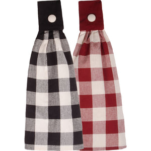 Buffalo Check Tab Towels - Black or Red - Set of 2