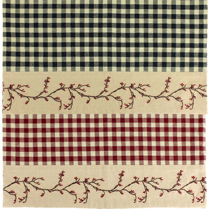 Berry Vine Check Rectangular Placemat - Red or Black - Set of 6
