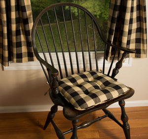 Buffalo Check Chair Pads - Black Tan or Garnet Tan