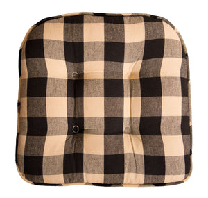 "Buffalo Check Black and Tan 16"" x 16"" Cotton Cushioned Chair Pad by Primitive Home Decors"