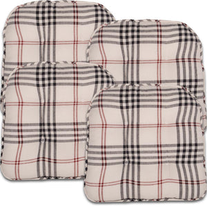 Chesterfield Check Chair Pad Cream - Black - Red (Set of 4)