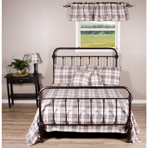 Chesterfield Check Queen Bed Cover Cream - Black - Red