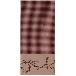 Berry Vine Gingham Check Kitchen Towel - Red or Black